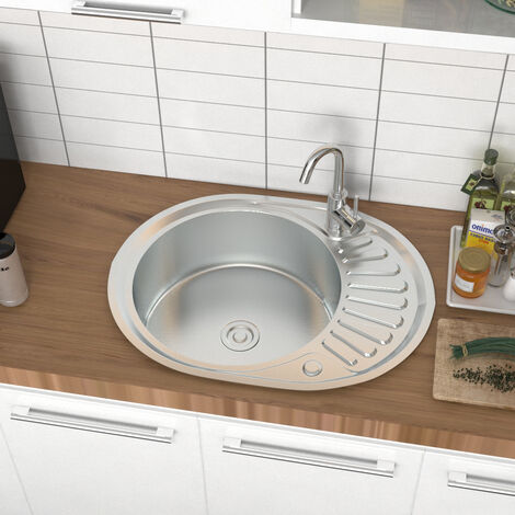 """main image of """"Catering Compact Small Single Bowl Stainless Steel Kitchen Sink Drainer Pipe Kit"""""""