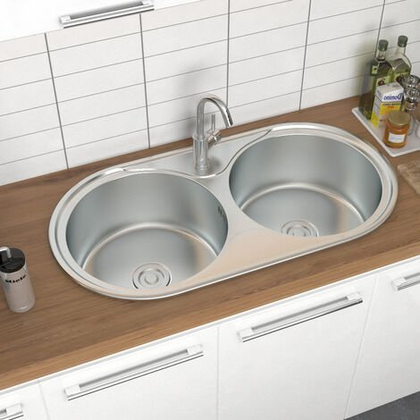 Catering Kitchen Sink Stainless Steel Inset Double Bowl Laundry Topmount Round