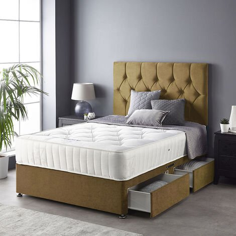 """main image of """"Catherine Lansfield Boutique Divan Set with Free Ortho Pocket Mattress - Plush Velvet - Strutted Headboard - 2 Drawers - Ochre"""""""