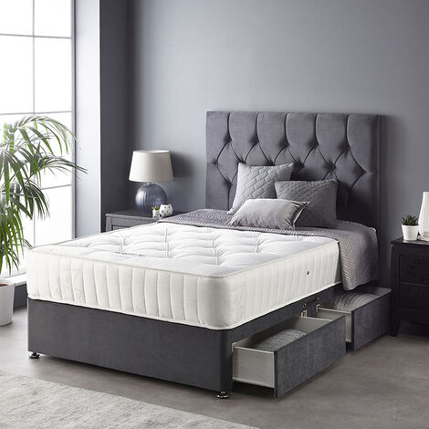 """main image of """"Catherine Lansfield Boutique Divan Set with Free Ortho Pocket Mattress - Plush Velvet - Strutted Headboard - 2 Drawers - Steel"""""""