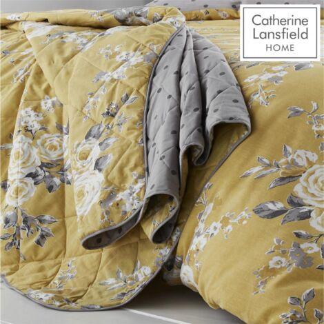 Catherine Lansfield Canterbury Easy Care Bedspread Ochre
