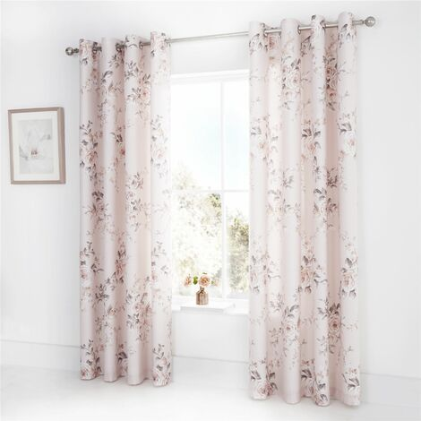 Catherine Lansfield Canterbury Easy Care Eyelet Curtains Blush 66x72 Inch