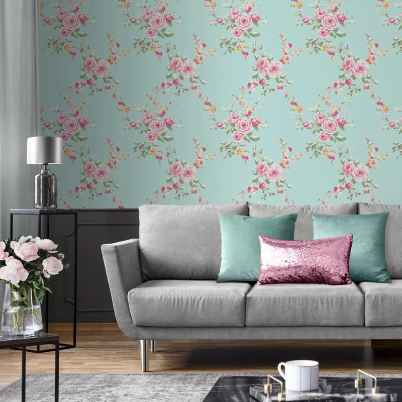 Image of Catherine Lansfield Designer Canterbury Floral Duck Egg Pink Wallpaper