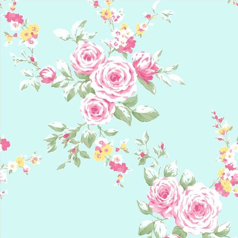Catherine Lansfield Canterbury Floral Duck Egg/ Pink Wallpaper
