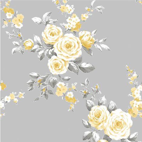 Catherine Lansfield Canterbury Floral Grey/ Ochre Wallpaper