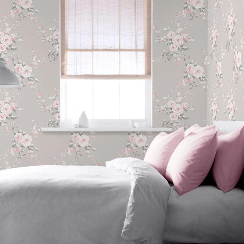 Image of Catherine Lansfield Designer Canterbury Floral Light Grey Pink Wallpaper