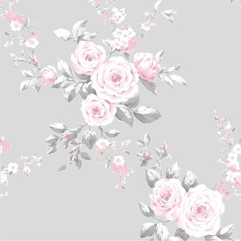 Catherine Lansfield Canterbury Floral Grey/ Pink Wallpaper