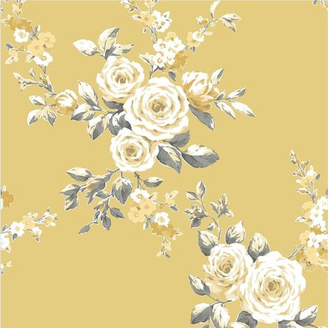 Catherine Lansfield Canterbury Floral Ochre Wallpaper