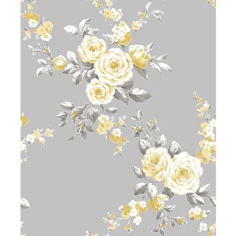 Catherine Lansfield Canterbury Floral Wallpaper Grey and Ochre