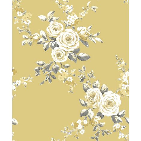 Catherine Lansfield Canterbury Floral Wallpaper Ochre