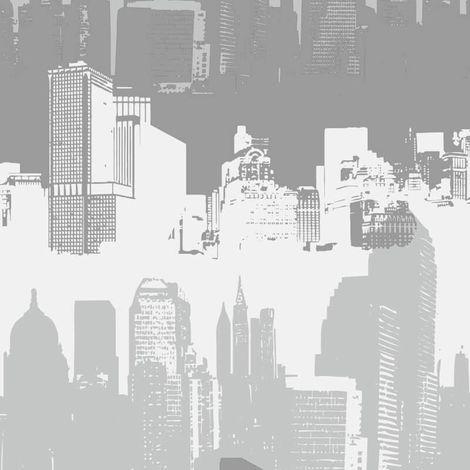 Catherine Lansfield Cityscape Silver Wallpaper