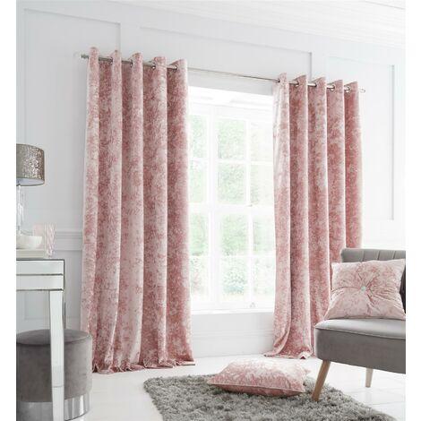 Catherine Lansfield Crushed Velvet 66 x 72 Inch Eyelet Curtain Pair Blush