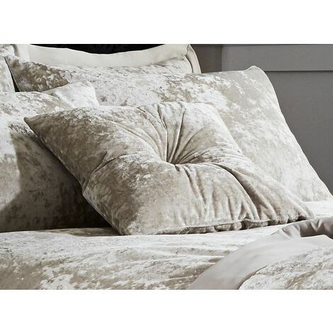 Catherine Lansfield Crushed Velvet Diamante Filled Cushion - Natural Cream (Filled Cushion)