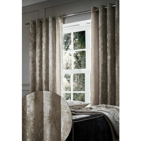 """Catherine Lansfield Crushed Velvet Eyelet Curtains 66""""x72"""" Natural"""