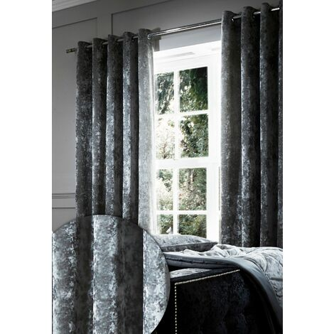 """Catherine Lansfield Crushed Velvet Eyelet Curtains 66""""x72"""" Silver"""