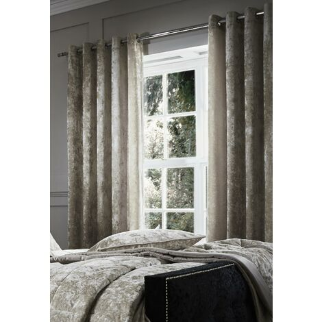 Catherine Lansfield Crushed Velvet Eyelet Curtains Natural, 66x54 Inch