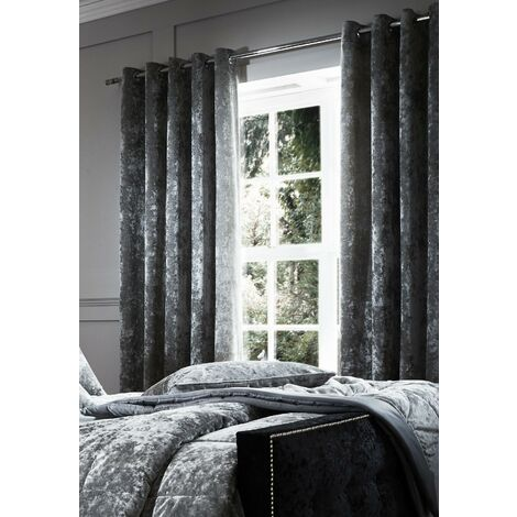 Catherine Lansfield Crushed Velvet Eyelet Curtains Silver, 66x54 Inch