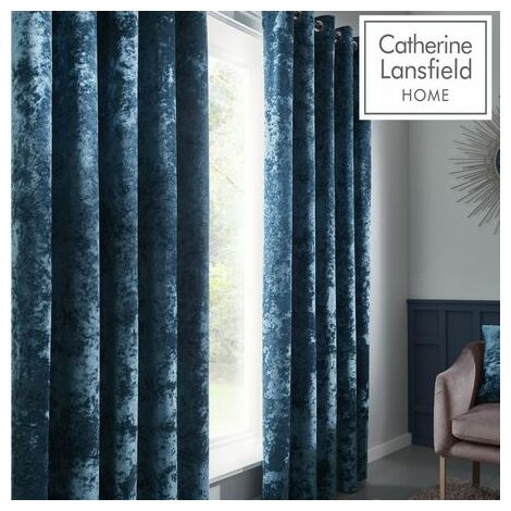 """Catherine Lansfield Crushed Velvet Teal Eyelet Curtains 66x90"""""""