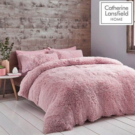 Catherine Lansfield Cuddly Double Duvet Cover Set Blush