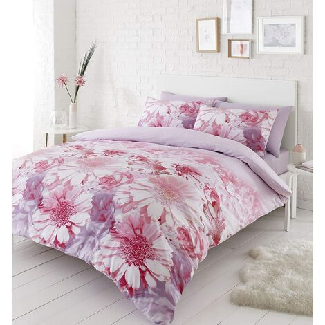 Catherine Lansfield Daisy Dreams King Size Duvet Cover Set Pink Floral Bedding