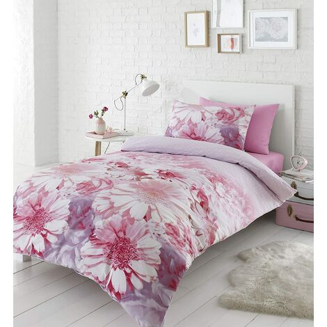Catherine Lansfield Daisy Dreams Single Duvet Cover Set Pink Floral Bedding
