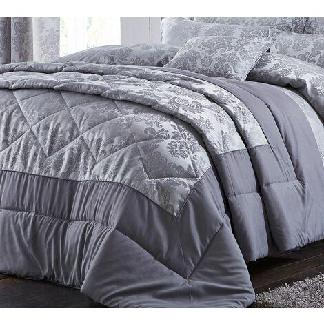 Catherine Lansfield Damask Jacquard Bedspread Silver, 240x260cm