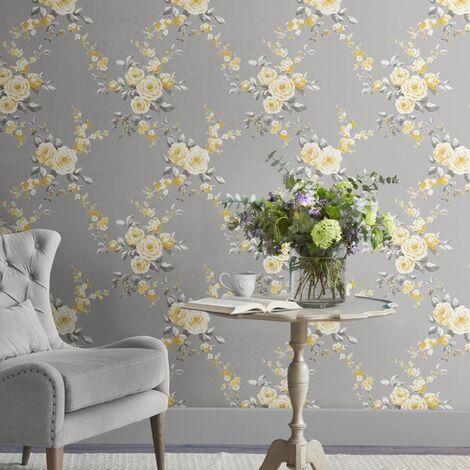 Catherine Lansfield Designer Canterbury Floral Grey Ochre Wallpaper