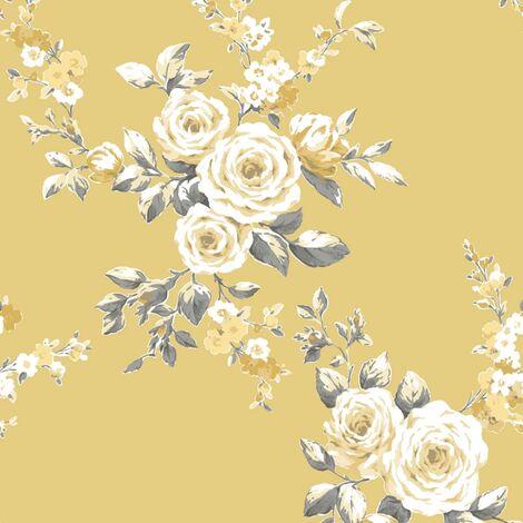 Catherine Lansfield Designer Canterbury Floral Ochre Yellow Wallpaper