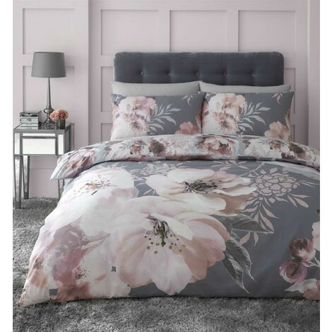 Catherine Lansfield Dramatic Floral Grey Duvet Cover Set Bedding Double