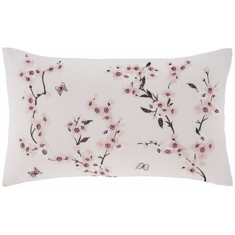 Catherine Lansfield Embroidered Blossom Filled Cushion Pink 30x40cm