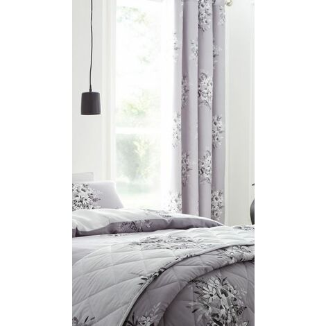 Catherine Lansfield Floral Bouquet Eyelet Curtains, Grey, 66x72-Inch