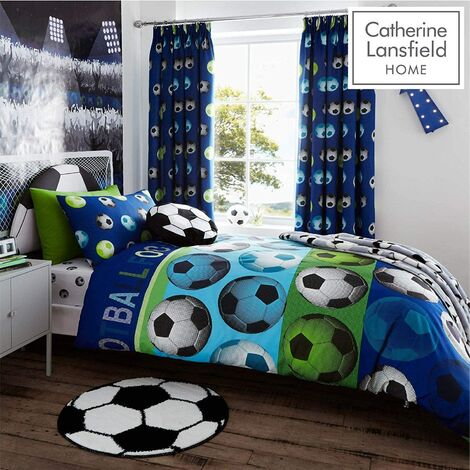 Catherine Lansfield Football Duvet Cover And Pillowcase Bedding Set - Double Blue