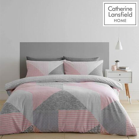 Catherine Lansfield Larsson Geo Pink Double Duvet Cover Set