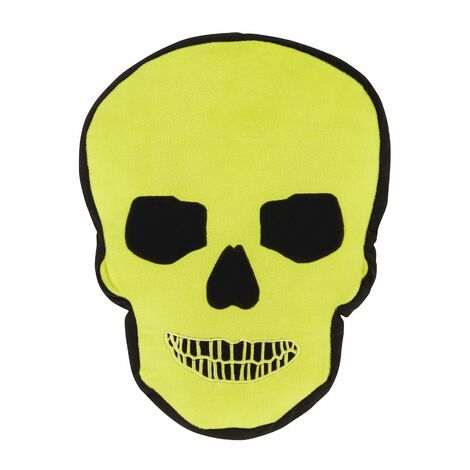 """main image of """"Catherine Lansfield Skull Teenagers Shaped Filled Cushion Green Bed Sofa Scatter"""""""