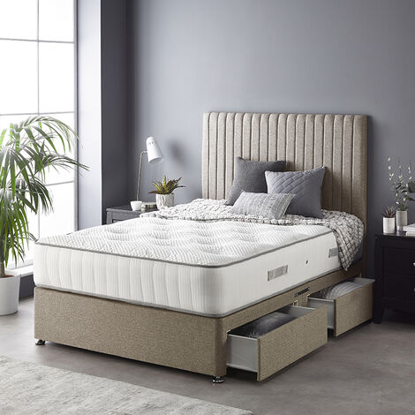 """main image of """"Catherine Lansfield Soho Divan Set with Free Natural Cashmere Mattress - Tweed - Strutted Headboard - 4 Drawers - Natural"""""""