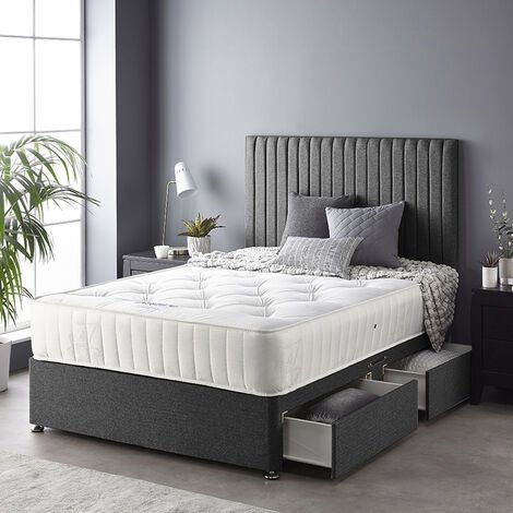 """main image of """"Catherine Lansfield Soho Divan Set with Free Ortho Pocket Mattress - Tweed - Strutted Headboard - No Drawers - Charcoal"""""""