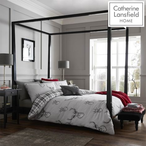 Catherine Lansfield Stag Easy Care Single Duvet Set Silver