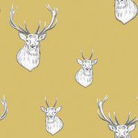 Catherine Lansfield Stag Wallpaper Ochre