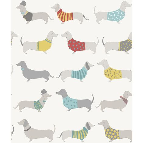 Catherine Lansfield Wallpaper Sausage Dog