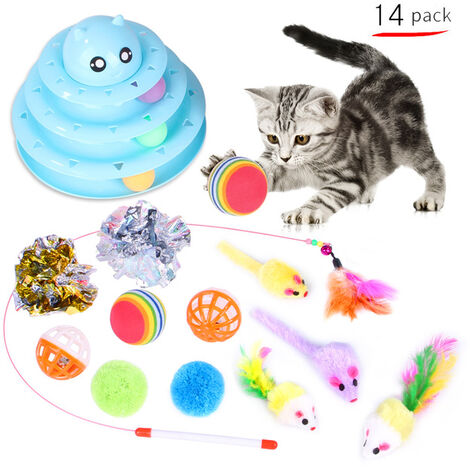 Cats toys, interactive toys for cats, three-layer track roll with three colorful balls, PP material, more durable, louder, sky blue