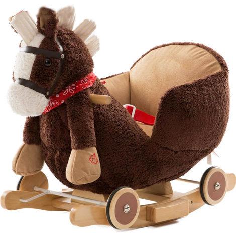 Cavallo A Dondolo Con Ruote.Cavallo A Dondolo In Legno Con Ruote Poni Cavalluccio Poltroncina