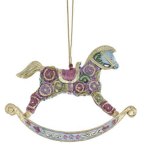 Cavallo A Dondolo Artigianale.Cavallo A Dondolo Verde Rosa Pendente Di Natale H 9 5cm Decorato A Mano