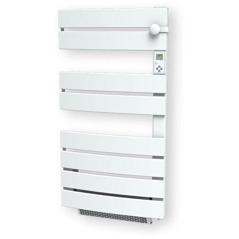 """main image of """"Cayenne radiateur sÞche-serviette 600W + soufflerie 1000W (1600W) lames plates ouverture latérale blanc LCD - Blanc"""""""