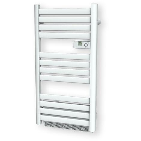 Cayenne radiateur sèche-serviette 500W + soufflerie 1000W (1500W) lames plates blanc LCD - Blanc
