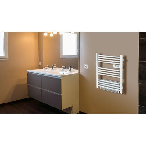 Cayenne radiateur sèche-serviette 500W + soufflerie 1000W (1500W) mini tubes ronds blanc LCD - Blanc
