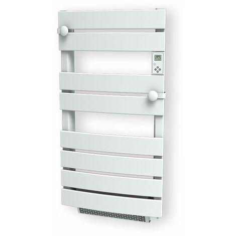 Cayenne radiateur sèche-serviette 600W + soufflerie 1000W (1600W) cintré lames plates blanc LCD - Blanc