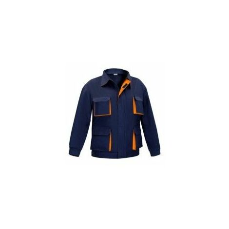 Cazadora Trabajo T52 100%Algodon Multibolsillos Azul/Naranja Cargo Vesin