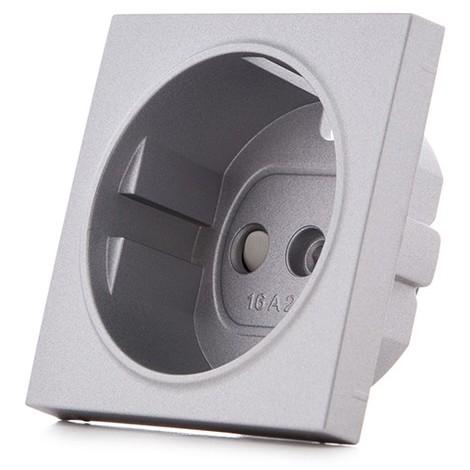 Cazoleta Panasonic Novella Toma Corriente Tt Lateral, Plata, (Compatible Mecanismo Karre) (GH-VK92205042)
