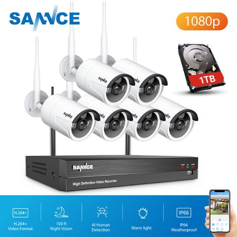 CCTV kit SANNCE 8 Channel WiFi IP Security Camera System with 6 pcs 1080p Outdoor Wireless CCTV Surveillance Cameras AI Human Detection with 1TB harddisk
