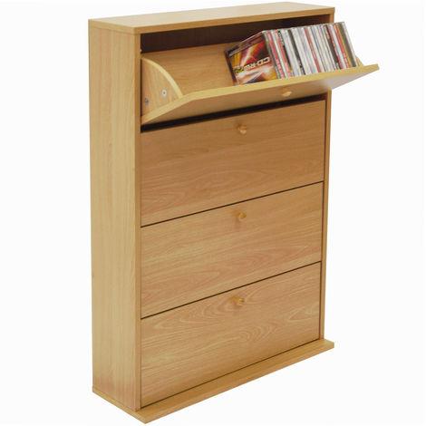 "main image of ""CD 200 - 200 CD Storage Cupboard Tilting 4 Drawer - Beech"""